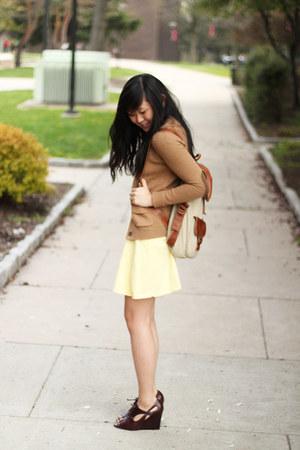 light yellow Urban Outfitters dress - tan Aldo bag - dark brown csn stores wedge