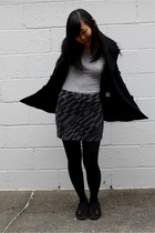 black American Rag coat - gray Old Navy t-shirt - gray TJ Maxx skirt - black HUE