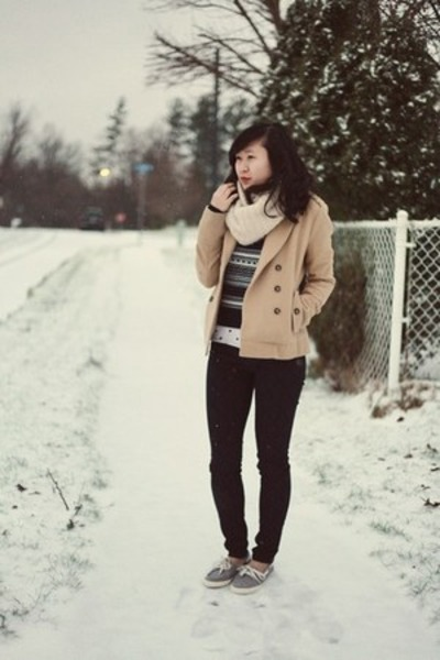 beige Forever 21 coat - navy lucky spades Level 99 USA jeans
