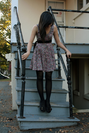 Urban Outfitters dress - Hang Ten belt - Blowfish shoes - HUE tights