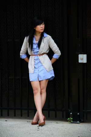 blue H&M dress - beige H&M cardigan - brown Forever 21 belt - brown Seychells sh