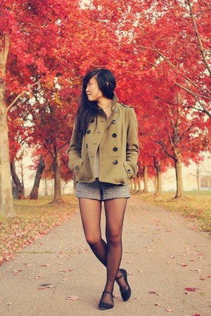 olive green H&M coat - black asos tights - charcoal gray Forever 21 shorts