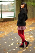 hot pink HUE tights - hot pink Forever 21 dress - black H&M shoes - heather gray