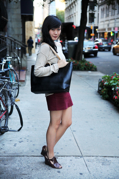 brick red corduroy H&M skirt - beige H&M sweater - black OASAP bag