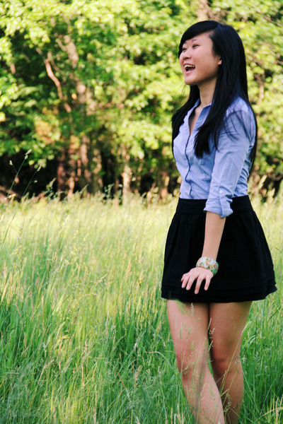 black Forever 21 skirt - blue shirt H&M dress