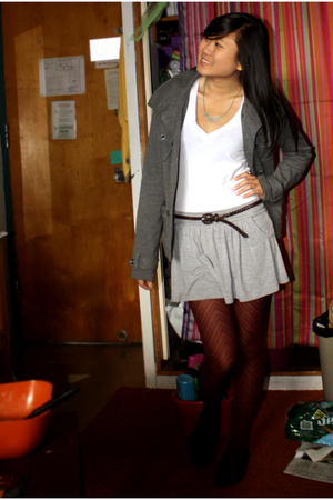 PacSun coat - Wet Seal top - Wet Seal skirt - Wet Seal belt - Forever 21 tights