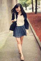 navy Gap cardigan - beige Urban Outfitters sweater - black OASAP bag