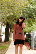 black Urban Outfitters dress - pink Topshop sweater - black Delias belt - black