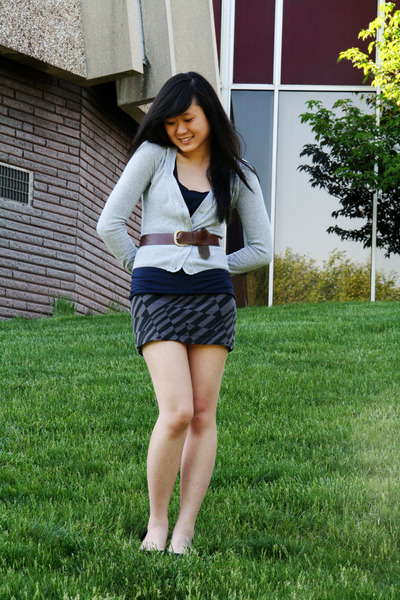 gray H&M cardigan - gray TJ Maxx skirt - brown H&M belt - blue Urban Outfitters