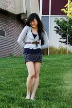 gray H&M cardigan - gray TJ Maxx skirt - brown H&M belt - blue Urban Outfitters