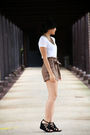 White-forever-21-t-shirt-brown-h-m-shorts-black-reaction-kenneth-cole-shoes-