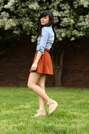 sky blue H&M dress - beige Aldo sandals - tawny Zara skirt - dark brown modcloth