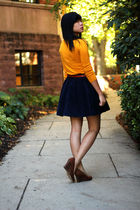 gold Forever 21 sweater - blue Urban Outfitters skirt - brown Topshop belt - bro
