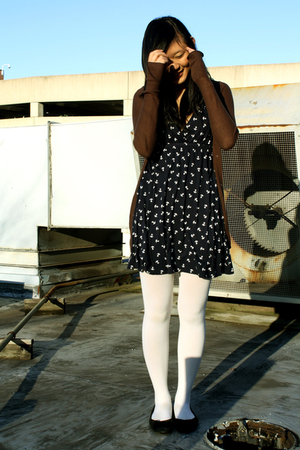 blue Target dress - brown Delias cardigan - white Wet Seal tights - black payles