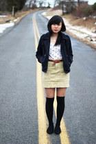 mustard Urban Outfitters skirt - black asos socks - tawny Topshop belt - white H