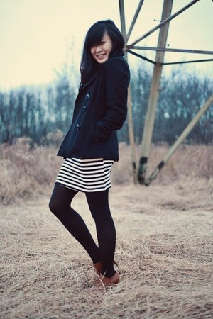 white striped Love Culture skirt - black American Rag coat - black DKNY tights
