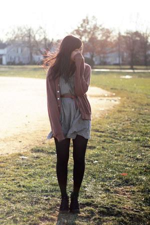 brown vintage sweater - tawny Topshop belt - dark khaki asos dress - black React