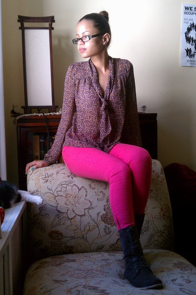 Pink H&m Pants Combat Boots