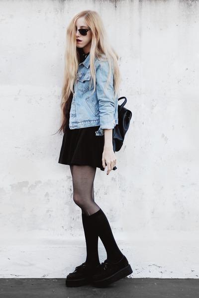 black skater made by me dress - light blue denim old jacket