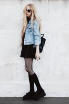 black skater made by me dress - light blue denim old jacket