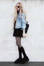 Black-skater-made-by-me-dress-light-blue-denim-old-jacket