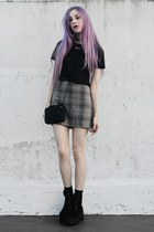 black crop Complot top - gray plaid made by me skirt