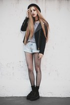 black leather collar Zara jacket - denim vintage shorts