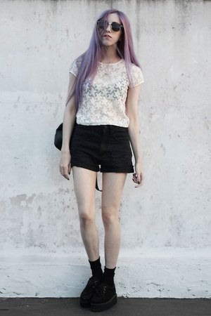 cream lace thrifted shirt - black ripped Complot shorts