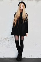 black crop DIY sweater - black pleated made by me skirt