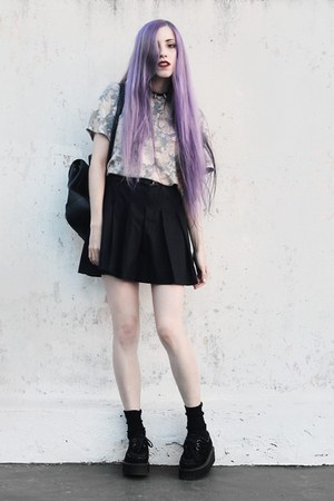periwinkle floral She Inside shirt - black pleated made by me skirt