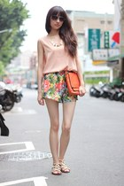 aquamarine shorts - nude top