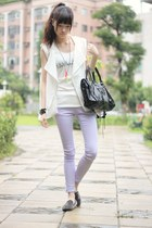light purple pants - white top - black loafers