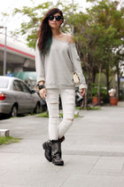 black Jeffrey Campbell boots - ivory Chanel bag - periwinkle Zara top