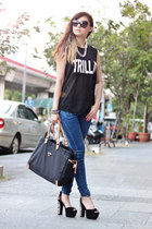 black Jeffrey Campbell heels - blue jeans - black H&M top