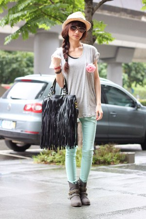 heather gray boots - silver shirt - aquamarine pants - peach accessories