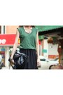 Dark-green-shirt-black-skirt