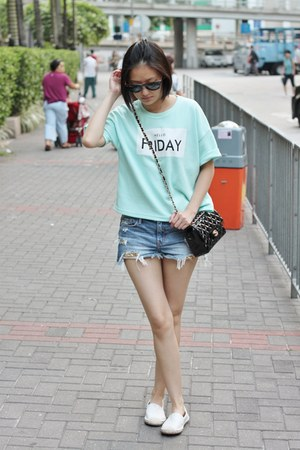 white shoes - aquamarine top