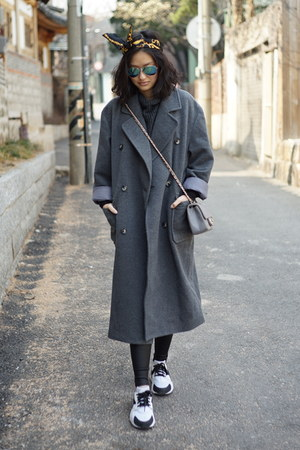 charcoal gray jeanasis coat - white nike sneakers