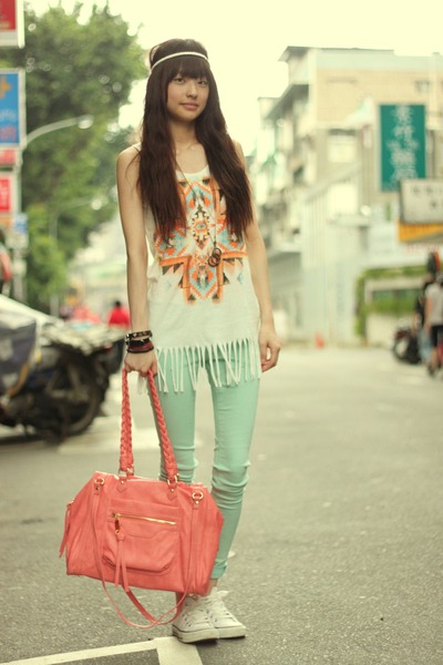 light blue pants - bubble gum bag