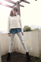 black Sophie&Sam boots - white Zara sweater - sky blue taiwan shirt