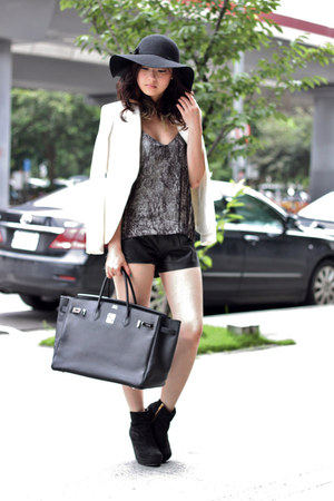 white Zara blazer - black H&M top