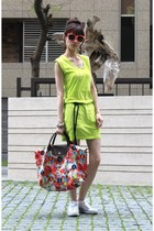 chartreuse dress - orange sunglasses