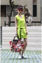 chartreuse dress - orange sunglasses