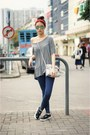 Heather-gray-h-m-shirt-red-zara-accessories