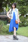 Heather-gray-boots-blue-dress-sky-blue-vest