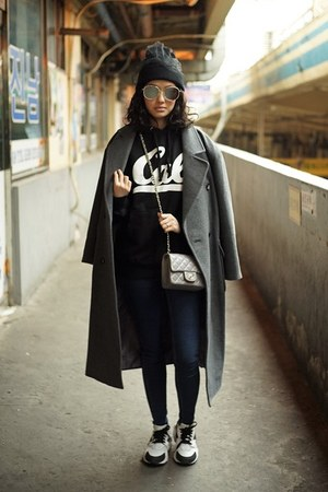 gray jeanasis coat - black Topshop hat - periwinkle Chanel bag