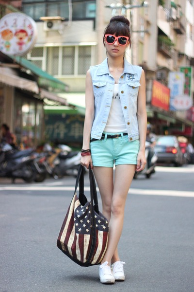 sky blue vest - aquamarine shorts - orange sunglasses - white top