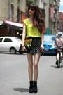 Black-shorts-chartreuse-vest-top