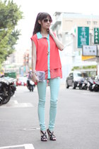 salmon top - light blue pants