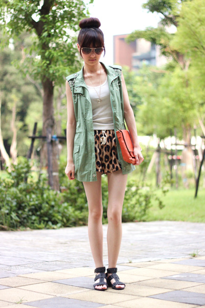 army green vest - tawny shorts - white top